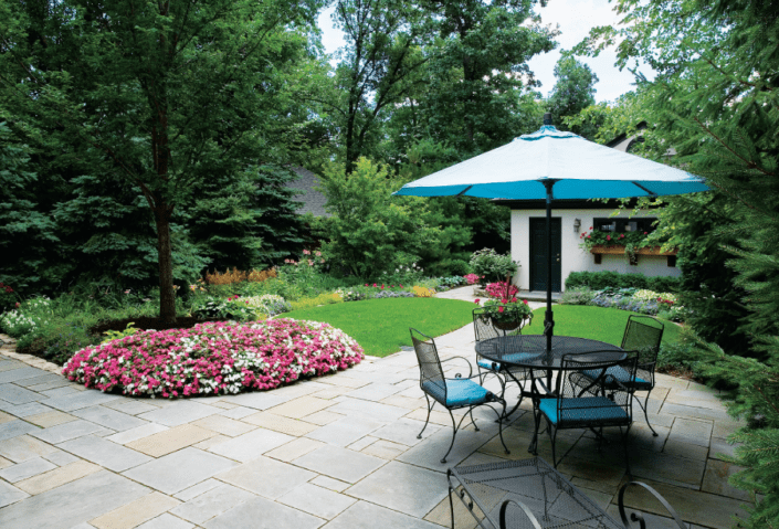 lake bluff landscaping project by van zelst featuring bluestone patio.