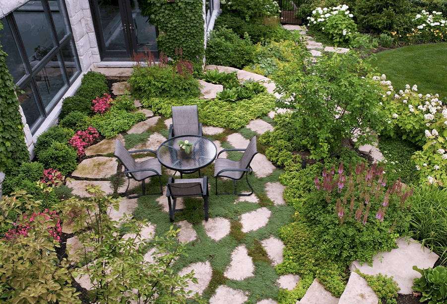 Flagstone Patio With Creeping Thyme