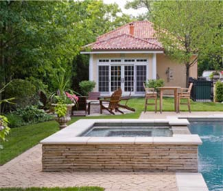 above ground stacked stone spa in lake forsest, il